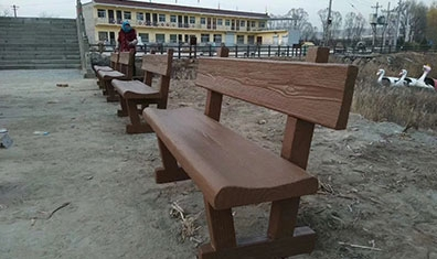 仿木靠背凳